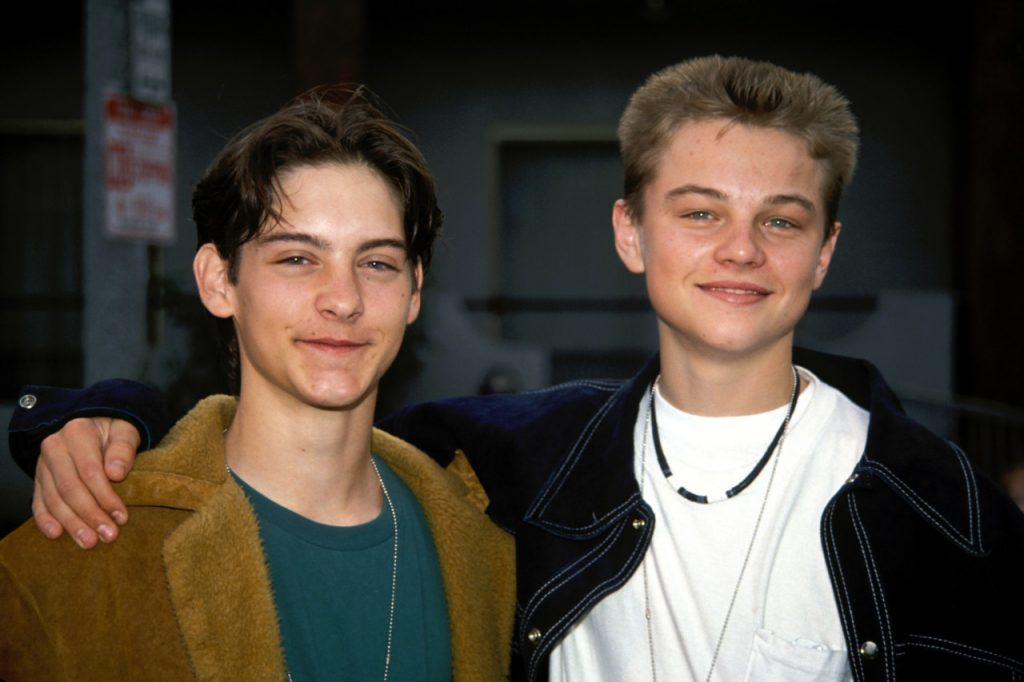 Tobey Maguire with buddy Leonardo DiCaprio in Hollywood in 1991 ©2002 Vincent Zuffante_Star File